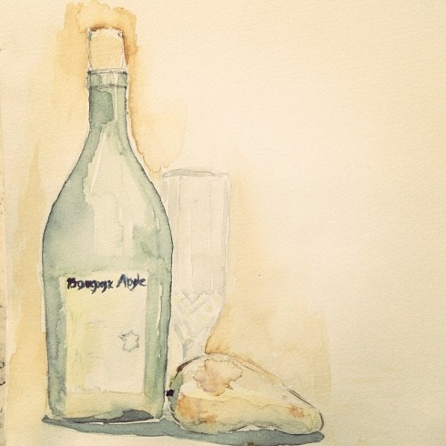 une bouteilles et une poire