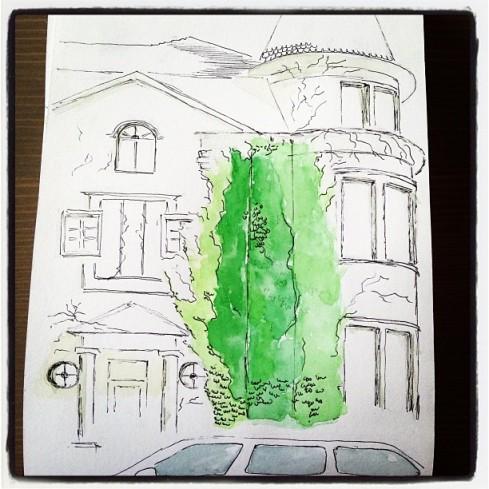 urban sketch_with a car